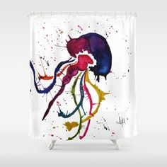 Paint Jellyfish Shower Curtain