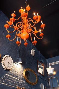 Orange chandelier.  #tangerine #lighting #interiors #Sewcratic