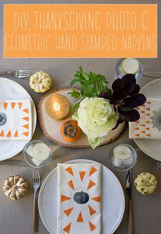 DIY: Thanksgiving Hand Stamped Geometric Napkins // www.acozykitchen.com