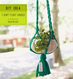 Upcycle a t-shirt into a macrame plant hanger