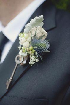 . vintage keys, wedding boutonniere, skeleton keys, winter weddings, groom, boutonnieres, flower, antique keys, thistl