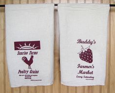 Natural Flour Sack Towels with Rooster/Strawberry prints