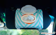 Keep wet wipes within easy reach when traveling by sewing this DIY Visor Wipes Holder! Free printable pattern.