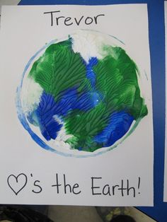 Cute idea.  Have the kids use green, blue and white paint on the lid of an ice cream container and then make a print with white paper!  The perfect planet earth for Earth Day!