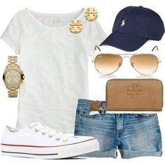 basebal game, preppy converse outfit, baseball game outfit, baseball game attire, casual preppy outfit, summer casual outfits, polo hat outfit, cute preppy summer outfits