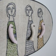 three tall women in slate olive and mustard by MarysGranddaughter