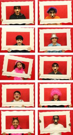 """brilliant """"photo booth"""" idea for your kids classroom (this one was for valentines day)  via  blog #ProjectDenneler"""
