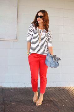 style pointer, pant stripe, red pant, hm stripe, stripe top