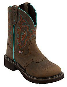 Justin® Gypsy™ Women's Barnwood Brown w/ Turquoise Round Toe Western Boots