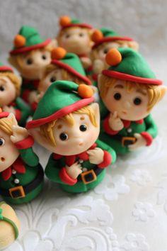 cupcak topper, christmas elf, polym clay, polymer clay, cupcake toppers, christma elv, fondant cupcakes