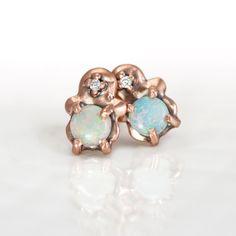 Opal Rose Gold Studs
