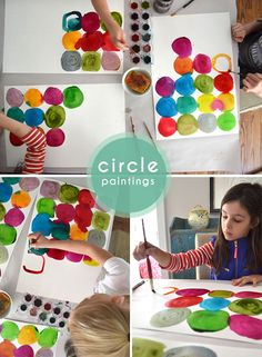 circle paintings using liquid water colors   |   Small for Big...perfect idea for a table runner, placemats, or large backdrop for a Very Hungry Caterpillar dessert table or photo booth.