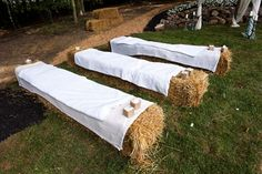 Wedding hay bales for seating. Much less expensive and very cute! @Shelby Cash What do you think? I think I love this!!