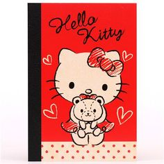 red Hello Kitty cat teddy bear mini notepad exercise book 1