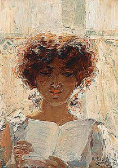 Young woman reading reading, 1904 by Rafael Hidalgo de Caviedes born August 26, 1864 in Quesada, Spain died November 7, 1950 (86) in Madrid, Spain