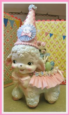 Creative Breathing: The Easter Parade - repurposed  vintage lamb planter (must make this!)