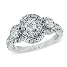 1 CT. T.W. Diamond Vintage-Style Three Stone Ring in 14K White Gold