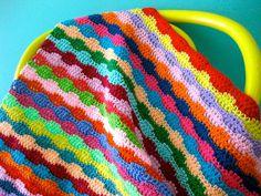 Crochet railway lines blanket