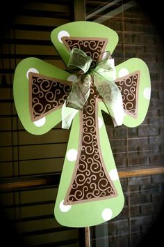 hand-painted and polka dotted cross - love it!