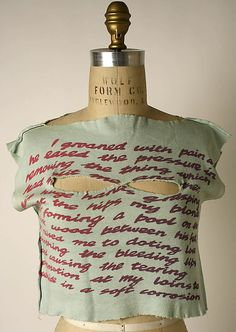 Vivienne Westwood (British, born 1941). I groaned, 1976. British. The Metropolitan Museum of Art, New York. Purchase, Richard Martin Bequest and Friends of The Costume Institute Gifts, 2006 (2006.253.6) #punkfashion