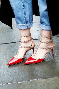 boyfriend jean + valentino rockstud heels