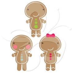 This charming Christmas clipart includes gingerbread men (and women) images and pictures that are perfect for your cards, thank you notes, and decorations.   #clipart