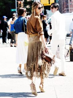 Olivia Palermo in a fringe skirt // #Celebrity #StreetStyle #style #fashion
