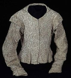 Bodice, 16th century    Linen, plain weave; embroidered with silk, silvered-metal-strip-wrapped fiber, and linen in chain and seed stitches jacket, chains, art, 16th century clothing, 1500s, 1600s fashion, chicago, 1600 fashion, linen