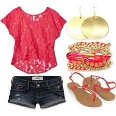 lace tops, summer looks, casual summer, summer fashions, summer outfits, summer colors, shoe, summer clothes, shirt