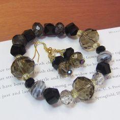 Smokey Black Chunky Bead Bracelet & Earring Set by QueenBCreations, $20.00