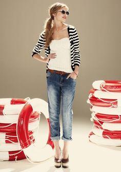 Modern Nautical #stripes #denim #belt #white