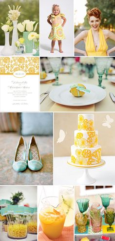 Yellow and aqua go so well together! Baby shower, wedding, bridal shower...pretty much whatever!