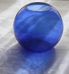 Walter Von Nessen Art Deco Cobalt Blue 5 Ball Vase for Heisey Glass