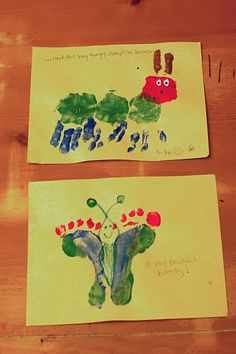 F- (#6 #WorldEricCarle and #HungryCaterpillar) F is for footprints. Use your hand and footprints to make an easy hungry caterpillar inspired craft