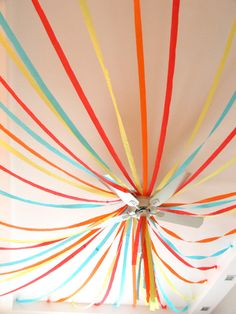 Circus Theme Party - streamers to look like the big-top tent