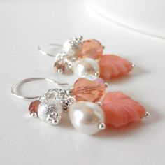 Coral Earrings Beaded Jewelry Bead Cluster Dangles Coral Pink and Ivory Beaded Earrings Gifts for Her Under 20 Handmade Bead Jewelry