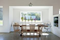 Passive House Retreat farmhouse dining room--- barnlightelectric.com