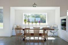 Passive House Retreat farmhouse dining room--- barnlightelectric.com