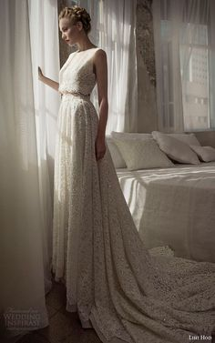 Julie M, amaxi skirt + midriff-revealing #CroppedTop,  #Lace Wedding Dress from Lihi Hod SS 2014 Bridal Collection