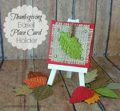 place card holders, diy crafts, diy tutorial, place cards, burlap crafts, fall, thanksgiving, places, easel