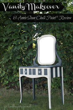 Vanity makeover & a review of Chalk Paint® decorative paint by Annie Sloan.  Also how to use clear and dark wax on furniture.