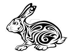 vector illustration of a tribal rabbit tattoo Stock Photo - 8442536