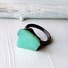 Raw chrysoprase and copper handmade ring from Midwest Alchemy