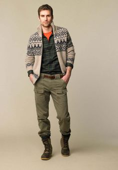 Casual winter look - the pop of color provided by the orange keeps the outfit from becoming too dull.