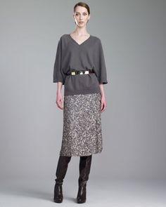 St. John - Shop Online - Fall 2013 First Look - Cashmere V-Neck Dolman-Sleeve Sweater, Hand-Sequined Skirt & Medium Leather Belt