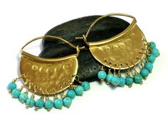 Half Moon Hoops Goldplated SilverTurquoise by rioritajewelry, $62.00