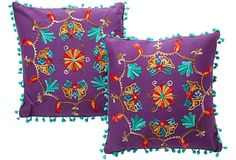 Punchy Purple Embroidered Pillows