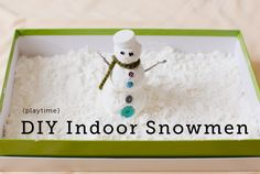 Winter Sensory Play..indoor snowman with cornstarch and shaving cream