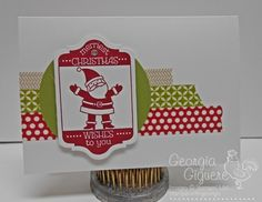 Quick and easy Christmas card using Stampin' Up! notecards and envelopes with Tag It stamp set!