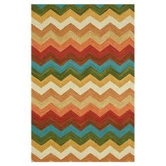 Multicolor wool rug with a chevron motif. Hand-hooked in India.   Product: RugConstruction Material: 100% Wool